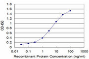 Detection limit for recombinant GST tagged PLP1 is approximately 0.1 ng/ml as a capture antibody.