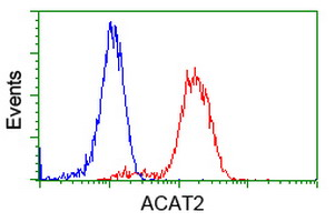 Flow cytometry of Jurkat cells, using anti-ACAT2 antibody, (Red), compared to a nonspecific negative control antibody, (Blue).