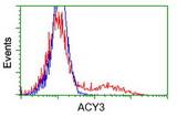 HEK293T cells transfected with either overexpress plasmid (Red) or empty vector control plasmid (Blue) were immunostained by anti-ACY3 antibody, and then analyzed by flow cytometry.