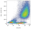 Surface staining of IL-4 and GM-CSF stimulated human peripheral blood cells with anti-human CD1b (SN13) PE.