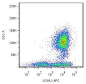 FACS using CD45RO / PTPRC Antibody, APC, APC conjugate (UCHL1) This image was taken for the unconjugated form of this product. Other forms have not been tested.