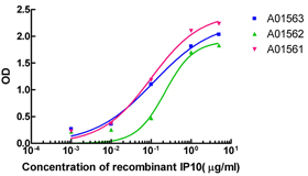Sandwich ELISA analysis of matched antibody pairs using IP10 Antibody, mAb, Mouse 1. ELISA plate was coated with Human IP10 Antibody, mAb, Mouse 2. Recombinant IP10 at appropriate dilution were added into appropriate reaction wells. 3. After a period of incubation, HRP conjugated Human IP10 Antibody, mAb, Mouse was added followed by proper period of incubation. 4. TMB substrate was added and developed at room temperature. 5. Stop the reaction with 1.0 N HCl and read the plate at 450nm.
