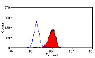 Cytochrome B245 Heavy Chain Antibody - Flow cytometry of human peripheral blood granulocytes with Mouse anti-Human Cytochrome b-245 Heavy Chain . Permeabilised with Leucoperm