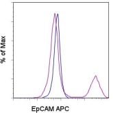 EPCAM Antibody - Staining of the TE-71 cell line with 0.06 ug of APC Rat IgG2a isotype control (blue histogram) or 0.06 ug of APC anti-mouse EpCAM (epithelial cell marker) (purple histogram). Total viable cells were used for analysis. This image was taken for the unconjugated form of this product. Other forms have not been tested.