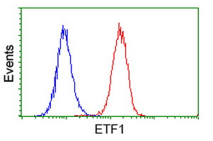 Flow cytometry of HeLa cells, using anti-ETF1 antibody (Red), compared to a nonspecific negative control antibody (Blue).