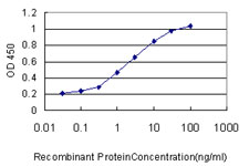Detection limit for recombinant GST tagged FABP3 is approximately 0.1 ng/ml as a capture antibody.