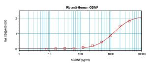 Sandwich ELISA of GDNF antibody. This image was taken for the unconjugated form of this product. Other forms have not been tested.