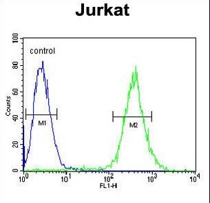 GLRX5 Antibody flow cytometry of Jurkat cells (right histogram) compared to a negative control cell (left histogram). FITC-conjugated goat-anti-rabbit secondary antibodies were used for the analysis.