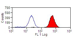 Human peripheral blood platelets stained with Mouse anti-Human CD42a:FITC This image was taken for the unconjugated form of this product. Other forms have not been tested.