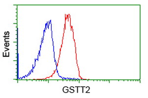 Flow cytometry of Jurkat cells, using anti-GSTT2 antibody (Red), compared to a nonspecific negative control antibody (Blue).