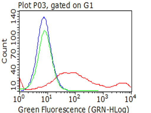 HAVCR2 / TIM-3 Antibody - Flow cytometric analysis of living 293T cells transfected with HAVCR2 overexpression plasmid , Red)/empty vector  Blue) using anti-HAVCR2 antibody. Cells incubated with a non-specific antibody. (Green) were used as isotype control. (1:100)