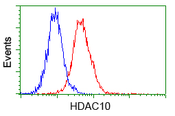 Flow cytometry of Jurkat cells, using anti-HDAC10 antibody, (Red) compared to a nonspecific negative control antibody (Blue).