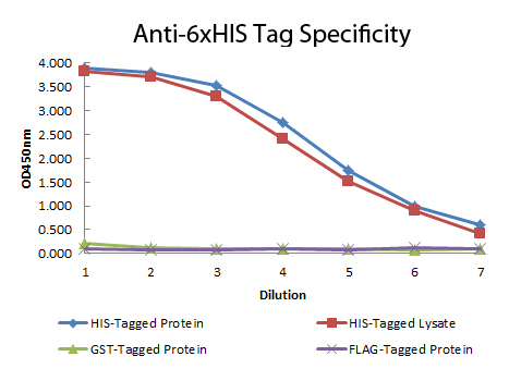 His Tag Antibody - ELISA of Mouse anti-6xHIS Tag Antibody. Antigen: HIS-tagged purified protein and E. coli cell lysates expressing HIS-Tagged construct, GST- and RON-tagged purified proteins. Coating amount: 0.15 ug per well. Primary antibody: 6xHIS Tag antibody at 100 ug/mL. Dilution series: 2-fold. Mid-point concentration: 200ng/mL. Secondary antibody: Peroxidase mouse secondary antibody at 1:10000. Substrate: TMB (p/n TMBE-1000). This image was taken for the unconjugated form of this product. Other forms have not been tested.