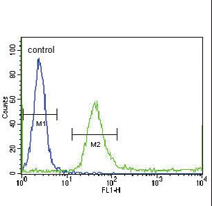 IGFBP4 Antibody flow cytometry of WiDr cells (right histogram) compared to a negative control cell (left histogram). FITC-conjugated goat-anti-rabbit secondary antibodies were used for the analysis.