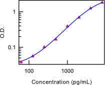 IL28 Antibody - Standard curve of mouse IL-28 ELISA. Recombinant cytokine standard concentration in pg/ml.