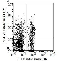 Human peripheral blood lymphocytes stained with FITC anti-human CD4 and PE/CY5 anti-human CD25. This image was taken for the unconjugated form of this product. Other forms have not been tested.