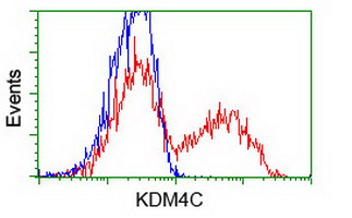 KDM4C / JMJD2C Antibody - HEK293T cells transfected with either pCMV6-ENTRY KDM4C (Red) or empty vector control plasmid (Blue) were immunostained with anti-KDM4C mouse monoclonal(Dilution 1:1,000), and then analyzed by flow cytometry.