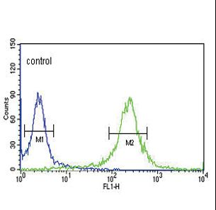 KLF5 Antibody flow cytometry of HeLa cells (right histogram) compared to a negative control cell (left histogram). FITC-conjugated goat-anti-rabbit secondary antibodies were used for the analysis.