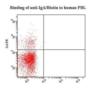 Flow cytometry of Human IgA antibody This image was taken for the unconjugated form of this product. Other forms have not been tested.