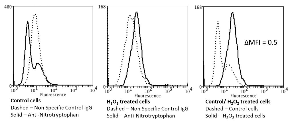 NO Tryptophan (Nitrotryptophan) Antibody - Flow Cytometry analysis using Mouse Anti-Nitrotryptophan Monoclonal Antibody, Clone 2D12. Tissue: Neuroblastoma cells (SH-SY5Y). Species: Human. Fixation: 90% Methanol. Primary Antibody: Mouse Anti-Nitrotryptophan Monoclonal Antibody  at 1:50 for 30 min on ice. Secondary Antibody: Goat Anti-Mouse: PE at 1:100 for 20 min at RT. Isotype Control: Non Specific IgG. Cells were subject to oxidative stress by treating with 250 µM H2O2 for 24 hours.