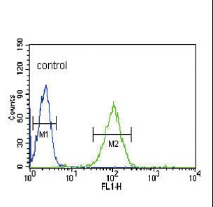 NOS3 / eNOS Antibody - NOS3 Antibody flow cytometry of HL-60 cells (right histogram) compared to a negative control cell (left histogram). FITC-conjugated goat-anti-rabbit secondary antibodies were used for the analysis.