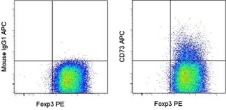 Surface staining of 3-day CD3/CD28-activated CD4+CD25+ normal human peripheral blood cells with APC Mouse IgG1, K isotype control (left) or APC anti-human CD73 (right) followed by intracellular staining with PE anti-human Foxp3 (PCH101). Cells in the CD4+CD25+ gate were used for analysis. This image was taken for the unconjugated form of this product. Other forms have not been tested.