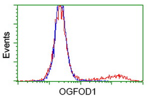 HEK293T cells transfected with either overexpress plasmid (Red) or empty vector control plasmid (Blue) were immunostained by anti-OGFOD1 antibody, and then analyzed by flow cytometry.