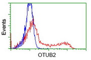 HEK293T cells transfected with either overexpress plasmid (Red) or empty vector control plasmid (Blue) were immunostained by anti-OTUB2 antibody, and then analyzed by flow cytometry.