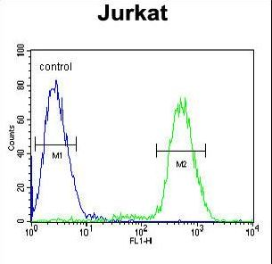 PPP1R3A Antibody flow cytometry of Jurkat cells (right histogram) compared to a negative control cell (left histogram). FITC-conjugated goat-anti-rabbit secondary antibodies were used for the analysis.