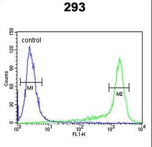 PRDX6 Antibody flow cytometry of 293 cells (right histogram) compared to a negative control cell (left histogram). FITC-conjugated goat-anti-rabbit secondary antibodies were used for the analysis.