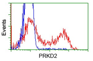HEK293T cells transfected with either overexpress plasmid (Red) or empty vector control plasmid (Blue) were immunostained by anti-PRKD2 antibody, and then analyzed by flow cytometry.