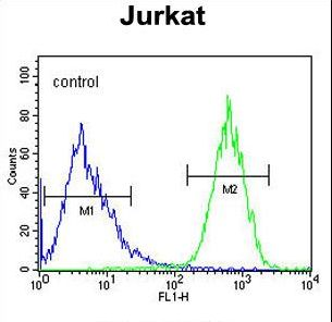 PRRG3 Antibody flow cytometry of Jurkat cells (right histogram) compared to a negative control cell (left histogram). FITC-conjugated goat-anti-rabbit secondary antibodies were used for the analysis.