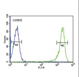 PSMB1 Antibody flow cytometry of HL-60 cells (right histogram) compared to a negative control cell (left histogram). FITC-conjugated goat-anti-rabbit secondary antibodies were used for the analysis.
