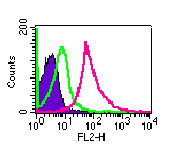 Intracellular flow analysis of TLR3 in Balb/c mouse splenocytes using antibody at 1 ug/10^6 cells. Shaded histogram represents cells without antibody; green represents rabbit IgG isotype control ; red represents anti-TLR3 antibody.