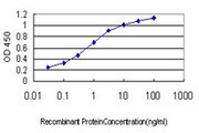 Detection limit for recombinant GST tagged PRSS7 is approximately 0.03 ng/ml as a capture antibody.