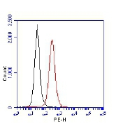 TP53BP1 / 53BP1 Antibody - Flow Cytometry: 53BP1 Antibody - 1 million Jurkat cells were fixed, permeabilized, and stained with 1.5 ug/ml anti-53BP1  TP53BP1 / 53BP1 Antibody LS-B6175 in a 150 ul reaction. Isotype control (black),  anti-53BP1 (red).  This image was taken for the unconjugated form of this product. Other forms have not been tested.