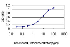 Detection limit for recombinant GST tagged TPM4 is approximately 1 ng/ml as a capture antibody.