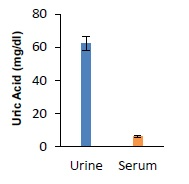 Uric Acid Assay Kit - Quantitation of Uric Acid concentration in human urine (25 µl, 50 times diluted) and serum (25 µl, undiluted).