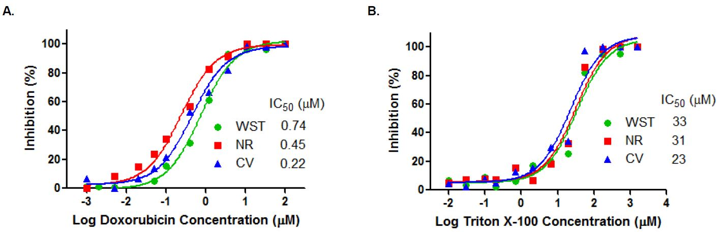 Cell Viability Assay Kit - (a) Dose-response curves of Doxorubicin detected by the assay kit in the MCF-7 cells. (b) Dose-response curves of Triton X-100 detected by the assay kit in the MCF-7 cells.